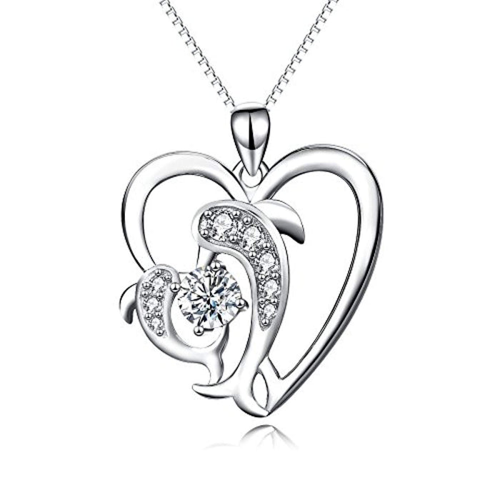 925 Sterling Silver Mom Baby Dolphin Love Pendant Necklace