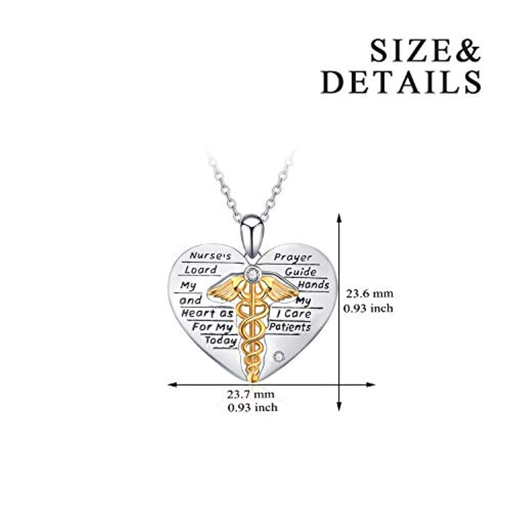 Nurse Gifts Caduceus Angel Nursing Themed Pendant Sterling Silver Necklace