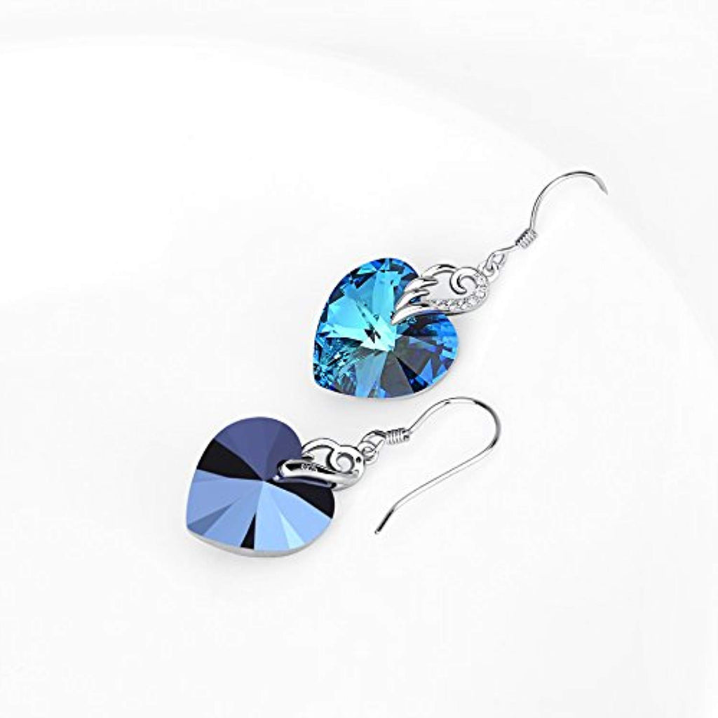 Sterling Silver Love Heart Dangle Drop Earrings with Blue Crystal Crystals