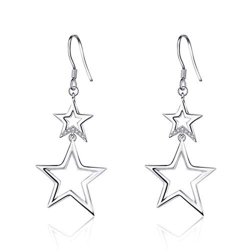 Sterling Silver Star Drop Dangle Earrings,Double Star Earrings