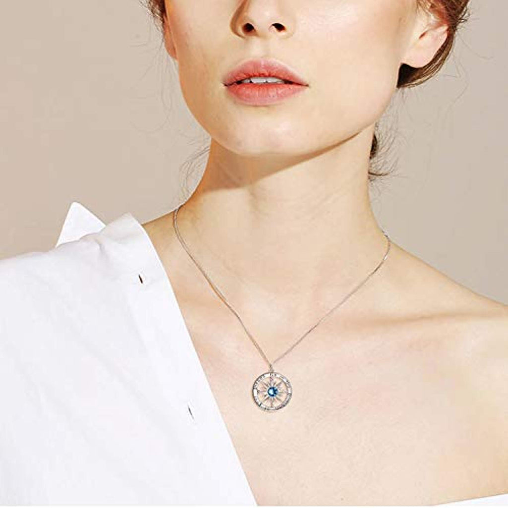 Blue Birthstone Sun Compass Necklace for Women Men Kids Go in The Direction of Your Dreams Engraved Pendant