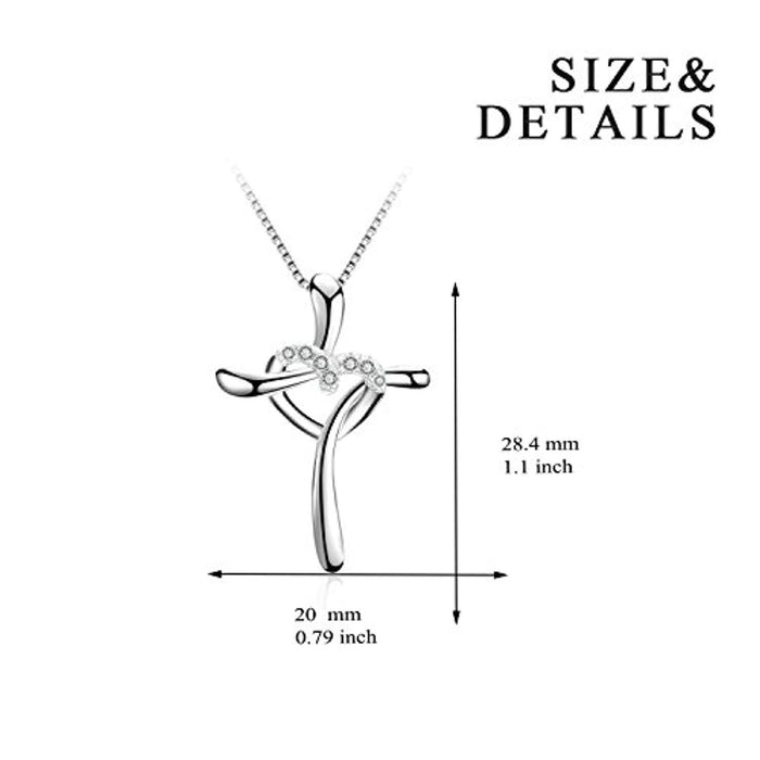 Cross Heart Pendant Women 925 Sterling Silver Polished Infinity Heart Necklace 18""