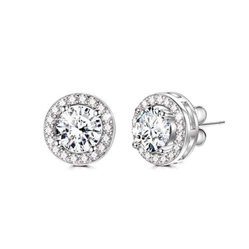 Cubic Zirconia Stud Earrings Crystals From Swarovski Hypoallergenic Round Cut Halo Stud Earrings