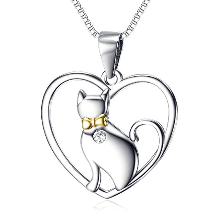 Women's Animal Jewelry Gift Solid Silver Love Heart Cat Necklace,18""