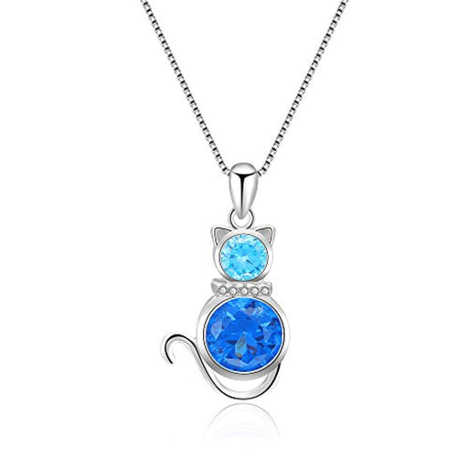 "Cat Necklace 925 Sterling Silver with Blue Crystal Box Chain 18"" for Women Girl"