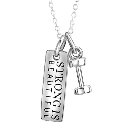 Sterling Silver Strong is Beautiful Engraved Dumbbell Barbell Gym Buff Pendant Necklace 18""