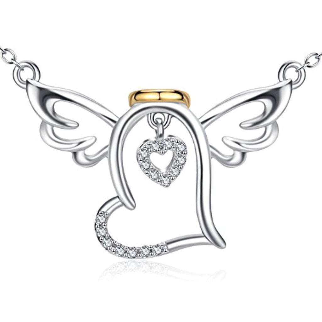 Sterling Silver Guardian Halo Angel Wings Heart Pendant Necklace Gift