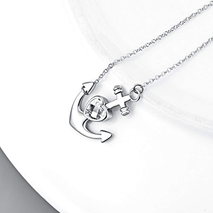 925 Sterling Silver Anchor Necklace for Women Girls