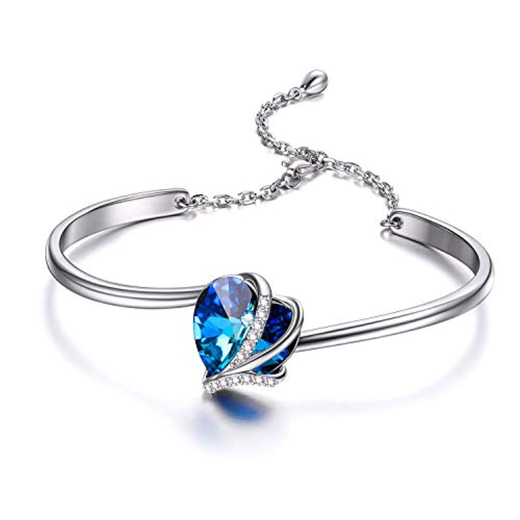 Love Heart Adjustable Bangle Bracelets-Blue Purple Crystals from Crystal I Love You Bracelet Hypoallergenic