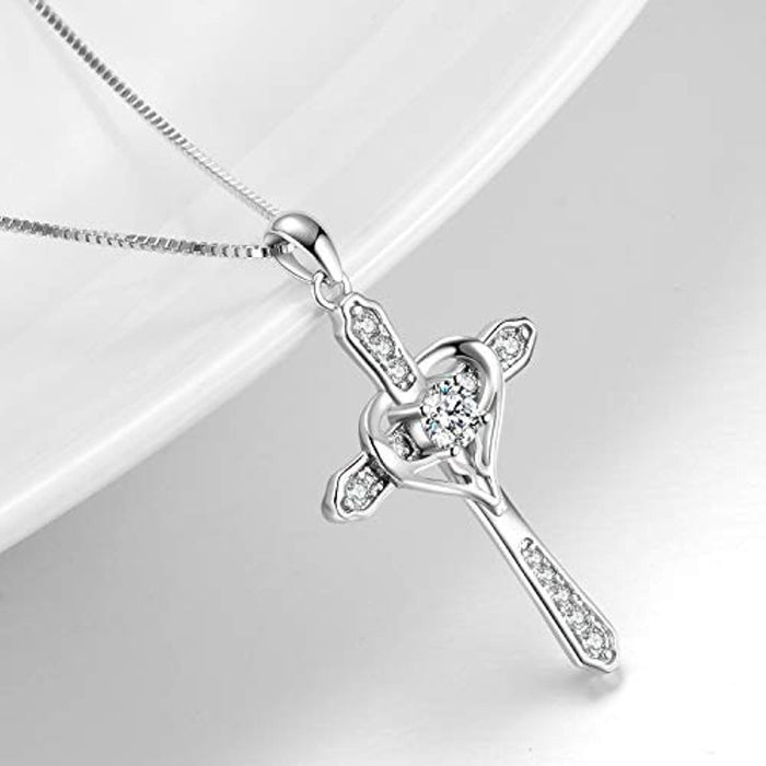 Cross Heart Women Necklace 925 Sterling Silver Polished Infinity Heart Necklace 18""