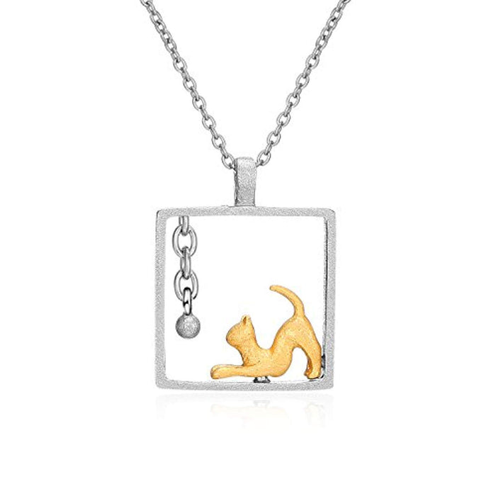 Women's Animal Jewelry Gift Solid Silver Two-Tone Cat Necklace,18""