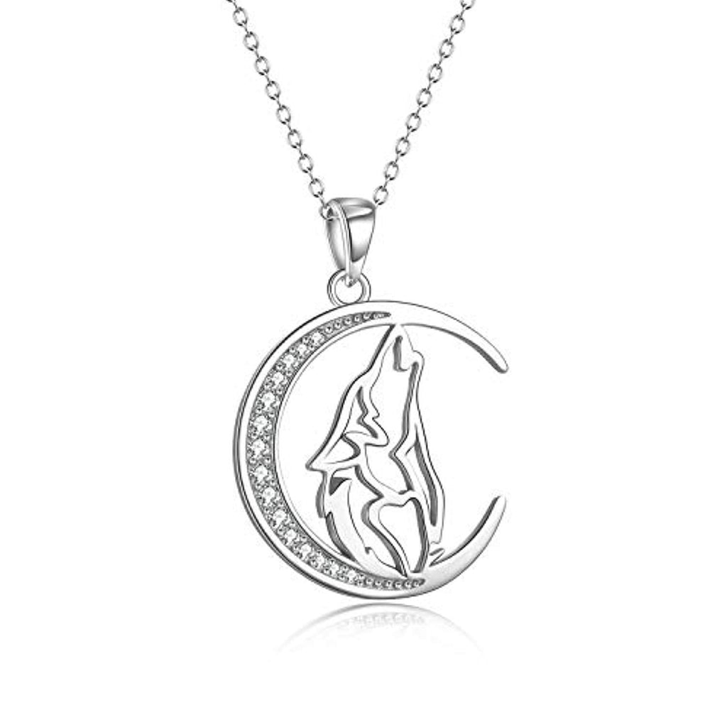 925 Sterling Silver Cubic Zirconial Wolf Moon Necklace 18