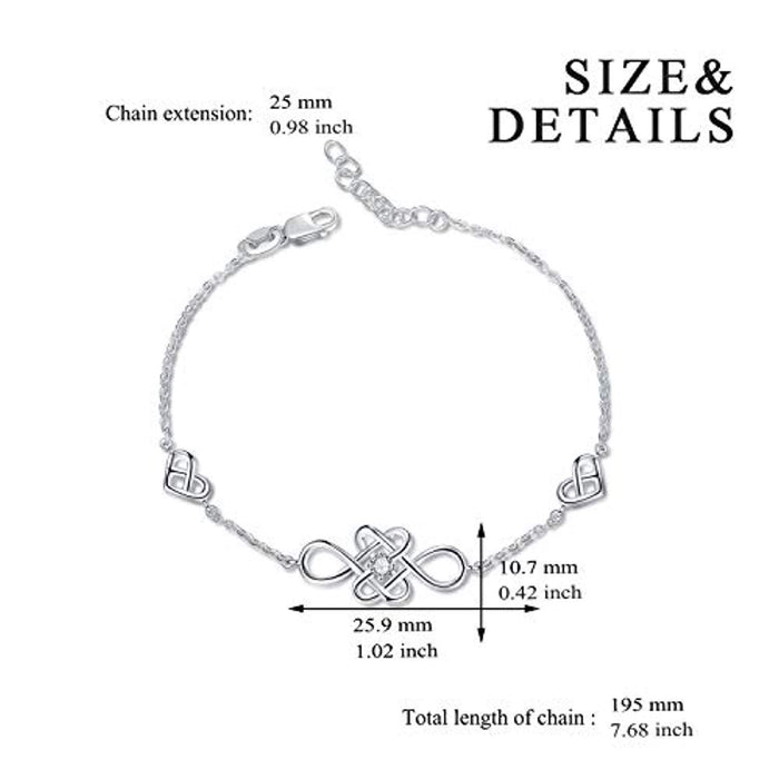 YAFEINI Celtic knot Earrings Bracelet Sterling Silver Polished Jewelry for Lover