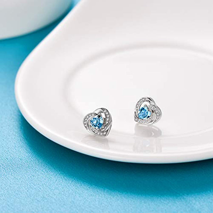 Birthstone Halo Heart Stud Earrings Blue Heart Shaped Crystals from Swarovski