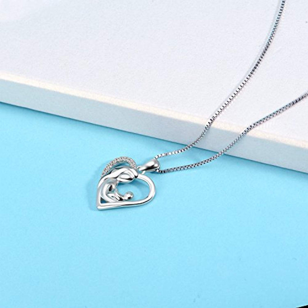 Sterling Silver Necklace for Mom Daughter Friend Necklace for Women Teens Girls