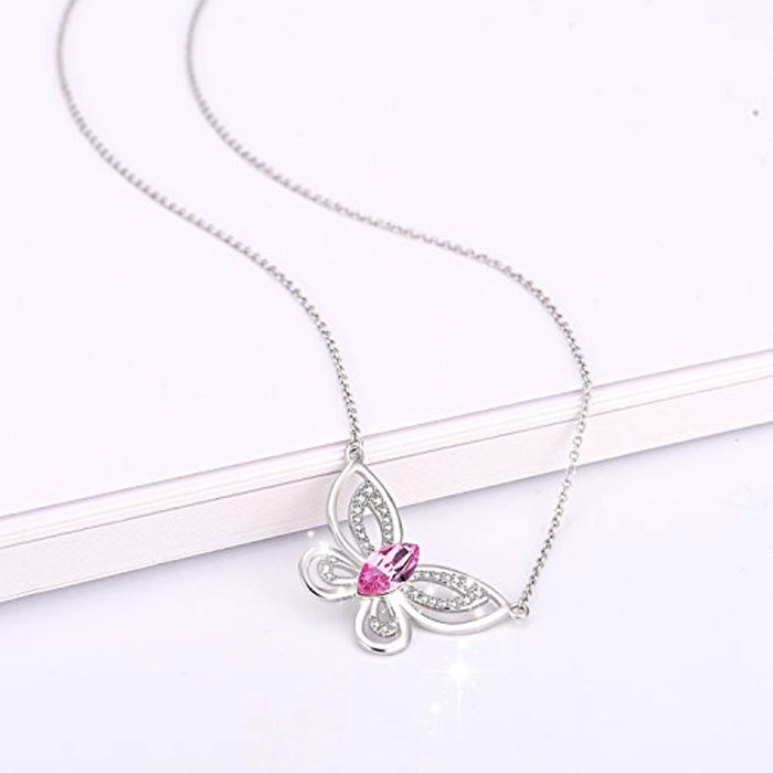 Butterfly Necklace Pink Crystal Butterfly Pendant Necklace with Crystal Crystal,Jewelry Gift