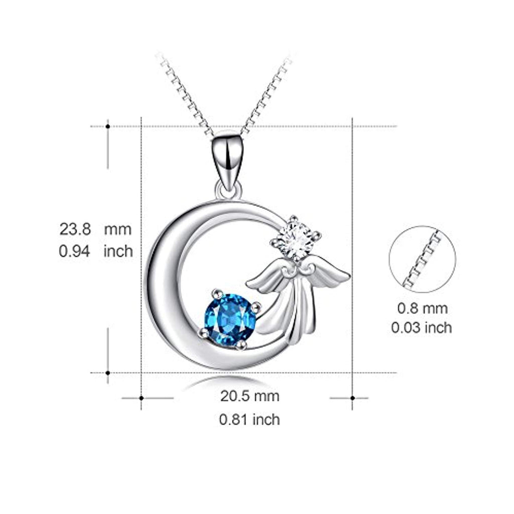 925 Sterling Silver Angel Wings Crescent with Blue Crystal Pendant 18
