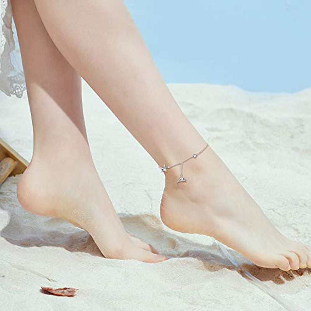 Sterling Silver Mermaid Starfish Anklet for Women Girls Adjustable Chain Foot Ankle Summer Jewelry