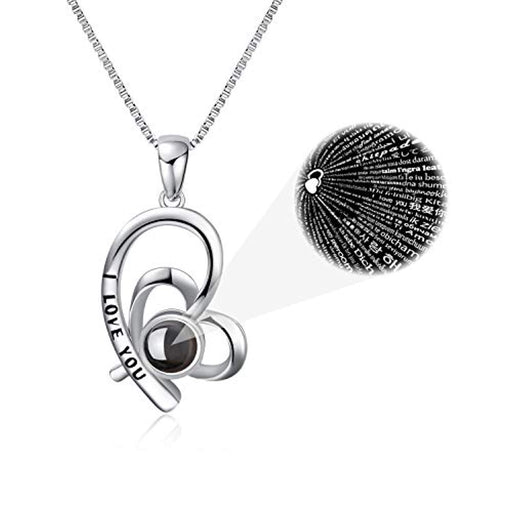 "925 Sterling Silver I Love You Necklace 100 Languages Love 18"" Necklaces"