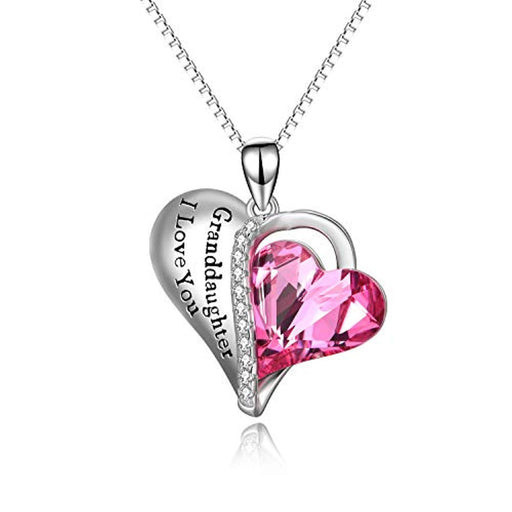 Granddaughter Grandmother Gifts - Granddaughter I Love You - Sterling Silver Heart Necklaces with Pink Crystal Crystals