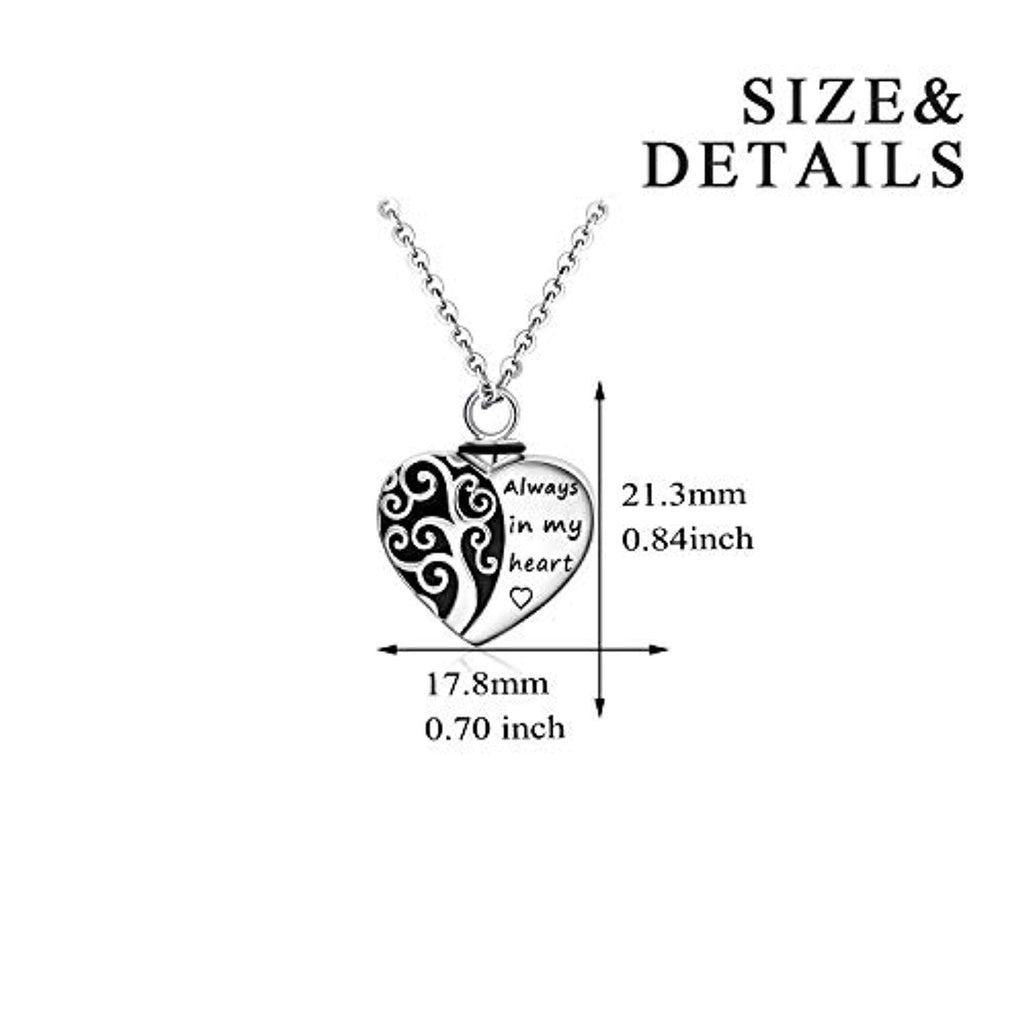 Urn Necklaces for Ashes Tree of Life Cremation Jewelry for Ashes,Always in My Heart Memory Necklace Gift, Easter Keepsake for Women