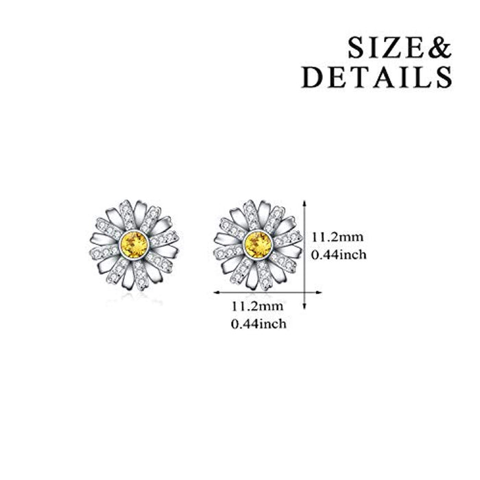 Flower Series Earrings Studs with Swarovski Crystal,Gift for Women Girls