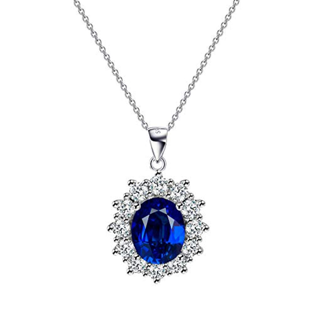 925 Sterling Silver Blue Cubic Zirconial Leverback Necklace for Women For Girls
