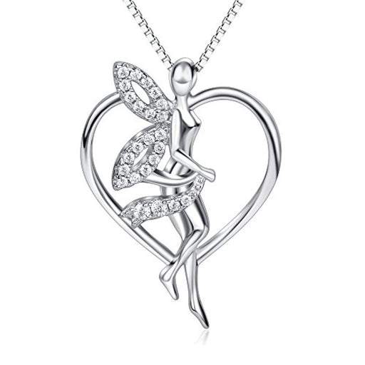Sterling Silver Guardian Fairy with Angel Wings Heart Pendant Necklace Gifts