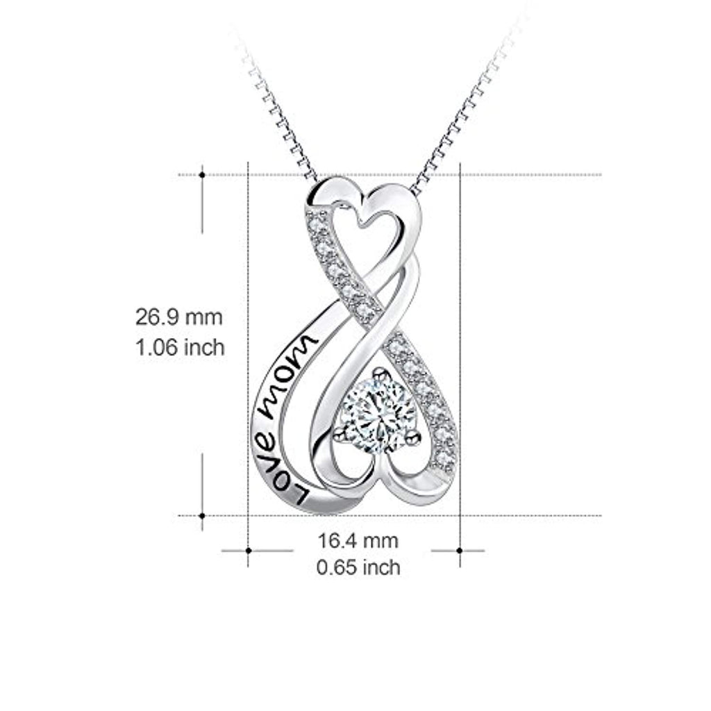 925 Sterling Silver Infinity Heart Engraved Love Mom Jewelry Women Gift 18