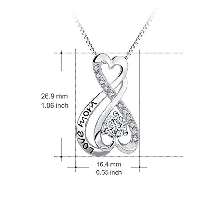 Mom Necklace Sterling Silver Infinity Heart Engraved Love Mom 18""