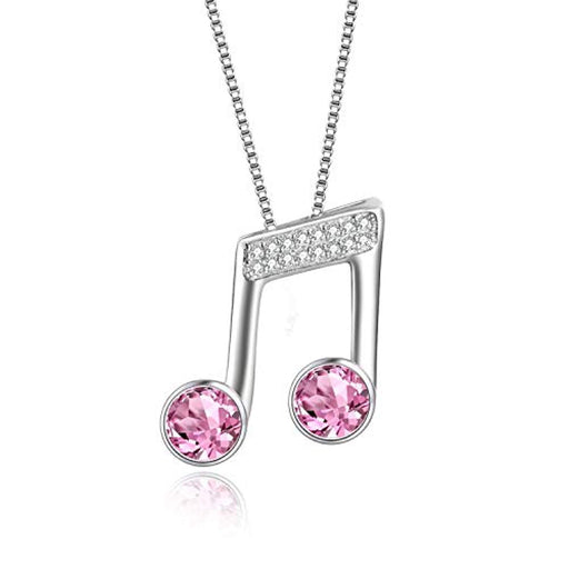 925 Sterling Silver Music Note Necklace Music Clef Ottava Pendant with Pink Crystal Crystals,Gift for Girls Women Musician