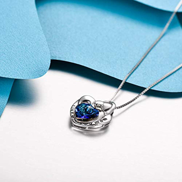 Mom Necklace 925 Sterling Silver Mother and Child Heart Pendant with Blue Swarovski Crystals-Mothers Birthday Jewelry Gifts