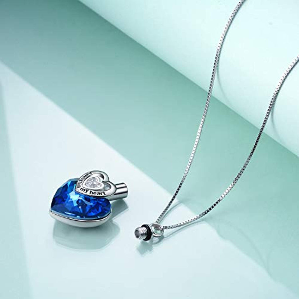 Love Heart URN Necklace Sterling Silver Heart Pendant Necklace with Swarovski Crystal