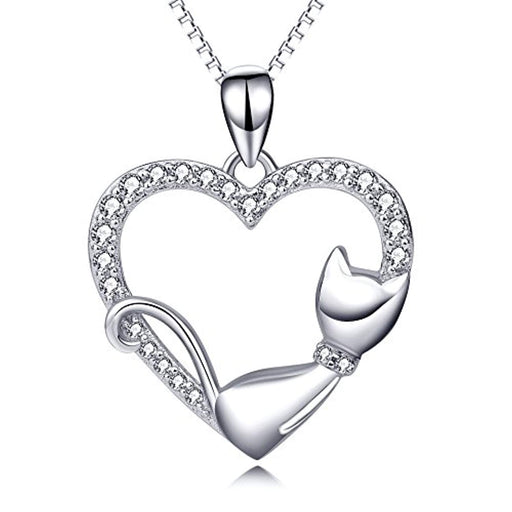 Cat Necklace Sterling Silver Sleeping Cat Heart Pendant Necklace Gift for Women Girls