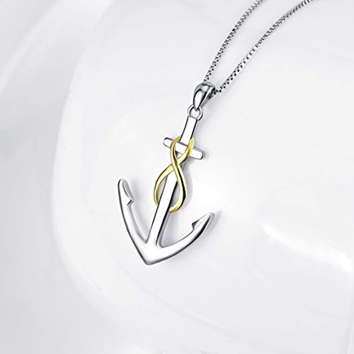 Nautical-Themes Jewelry 925 Sterling Silver Two-Tone Ship Anchor Pendant Necklace for Women 18""