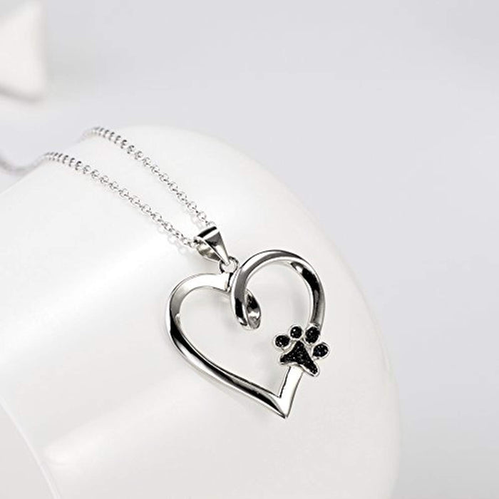 "925 Sterling Silver Paw Print Heart Pendant 18"" (Heart and Paw Print) Necklace"