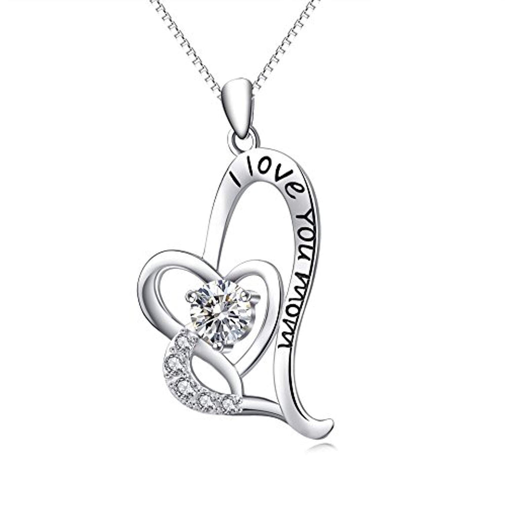 Mom Necklace Sterling Silver I Love You Mom Jewelry Women Gift 18