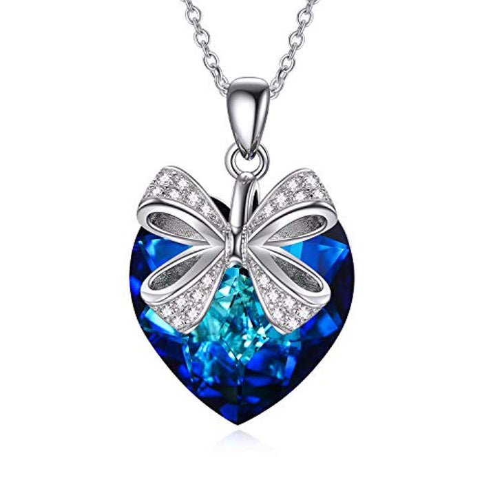 Heart Necklace with Blue Swarovski Crystals Bow Jewelry Anniversary Birthday Gifts for Girls Girlfriend Wife Daughter Mom
