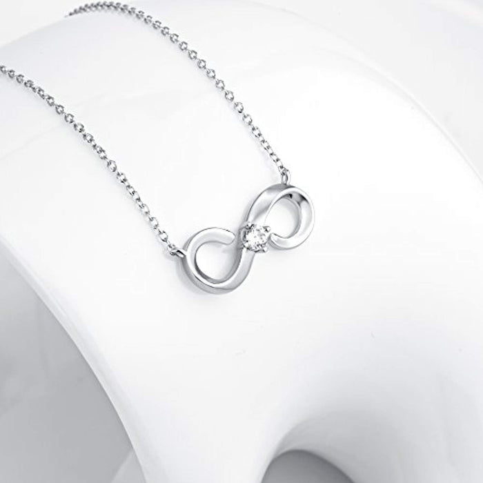 Infinity Necklace Sterling Silver Infinite Love Pendant Necklace Gift for Women Girls