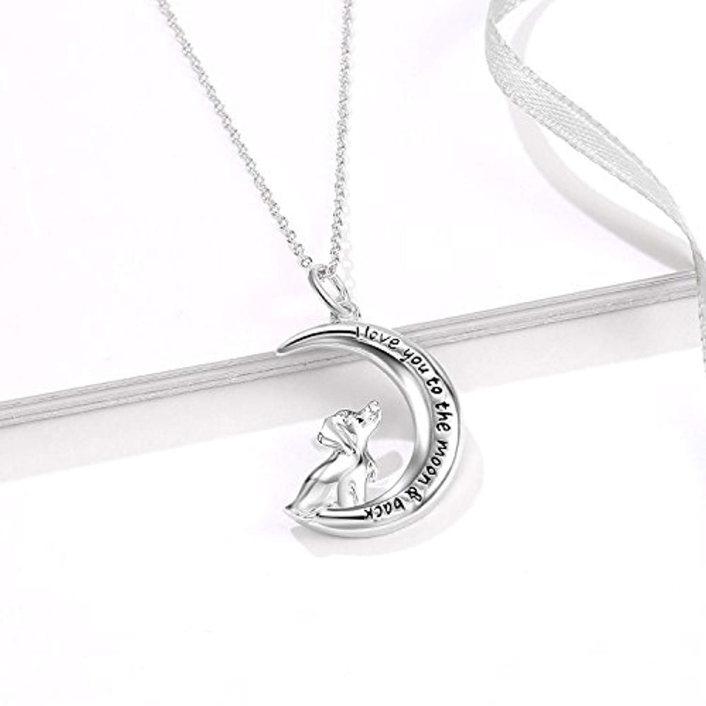 Sterling Silver Dog House Moom Pendant Necklace 18