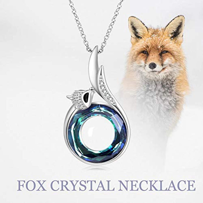 Fox Necklace for Women with Blue Purple Circle Swarovski Crystals,Birthday Anniversary Fine Jewelry