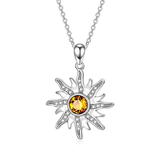 Sun Sunshine Pendant Necklace with Topaz Citrine Crystal Crystal Delicate Celestial Jewelry Gift for Women Girls