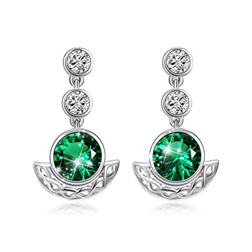 Sterling Silver Celtic Knot Drop Dangle Earrings With Simulated Emerald Green Swarovski
