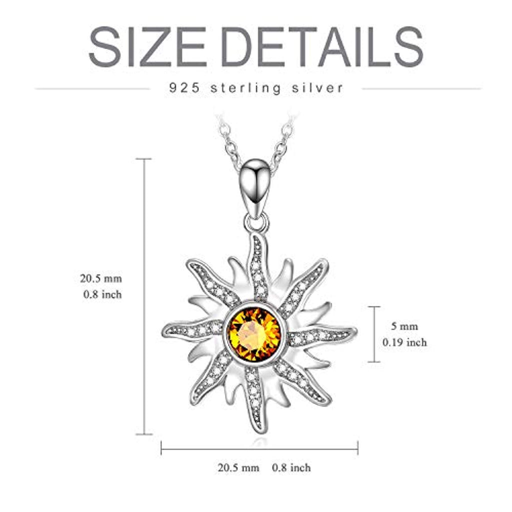 Sun Sunshine Pendant Necklace with Topaz Citrine Swarovski Crystal Delicate Celestial Jewelry Gift for Women Girls