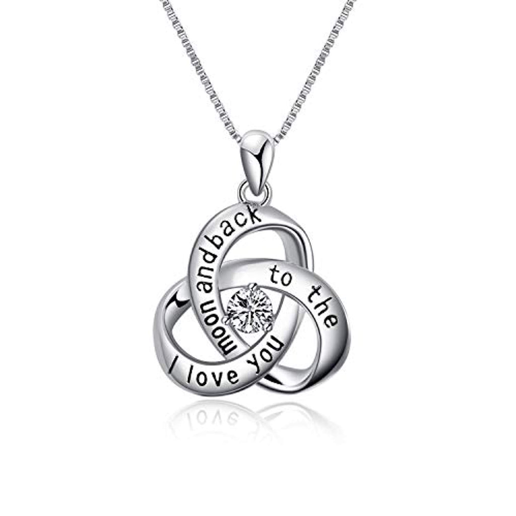 Celtic Knot Pendant I Love You to The Moon and Back Sterling Silver Necklace