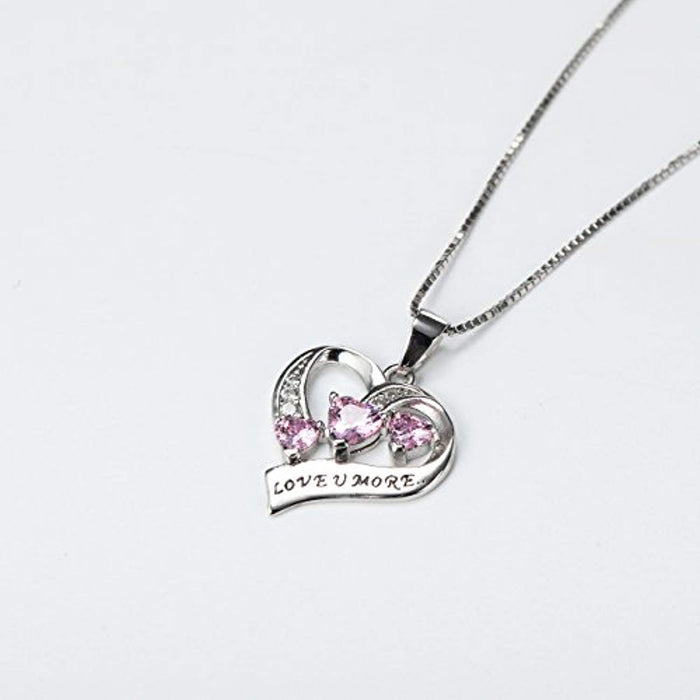 "Engraved Love You More Sterling Silver Pink Jewelry Crystal Eternity Heart 18"" Necklace (Pink Heart)"
