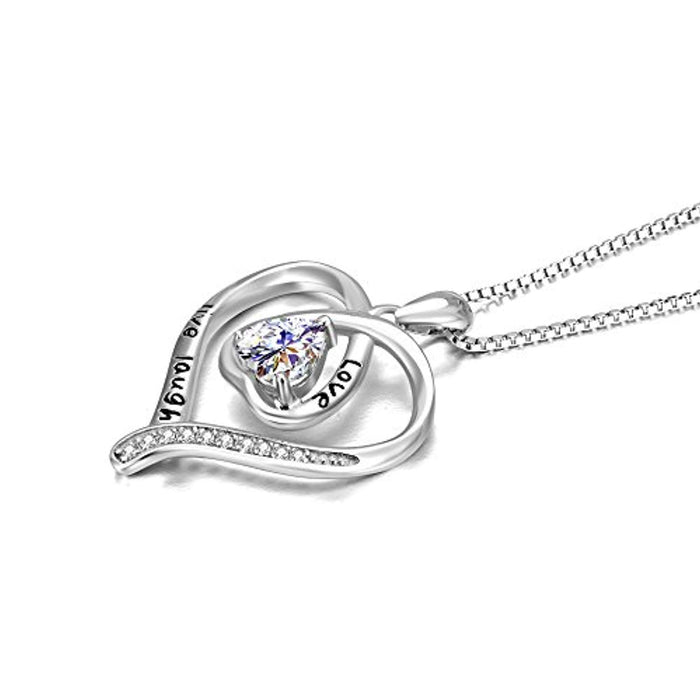 Sterling Silver Live Love Laugh Heart Pendant Necklace Gift for Women Girls