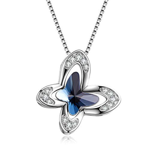 Butterfly Necklace for Women with Blue Swarovski Crystals