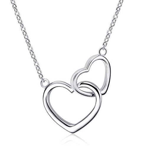 Sterling Silver Double Interlocking Heart Mother and Daughter Necklace for Women Sisters Girls