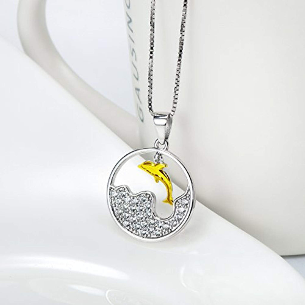 Dolphin Crystal Pendant Necklace with 18K Gold Overtone Sterling Silver,18